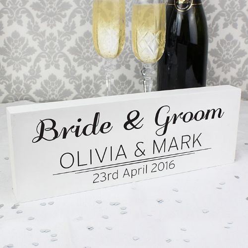 Personalised Classic Mantel Block Wedding Sign
